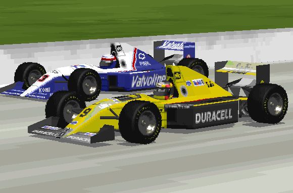 Raul Boesel battles Al Unser, Jr. at the 1993 Milwaukee Sprint